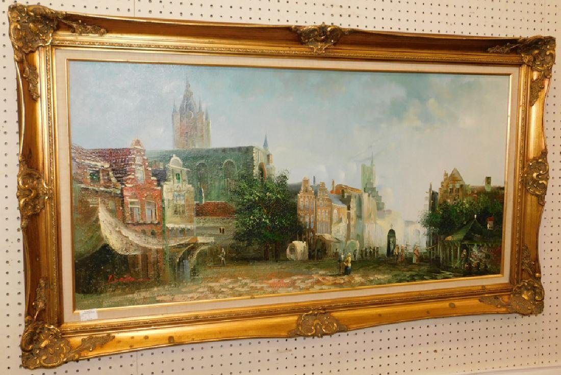 French street scene OOAB, signed