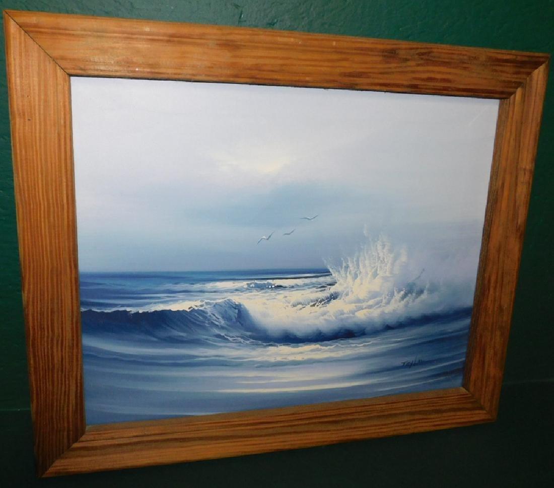 Oil on canvas, ocean scene, signed Taylor