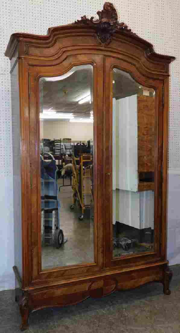 French Walnut Armoire w/ Mirror Door