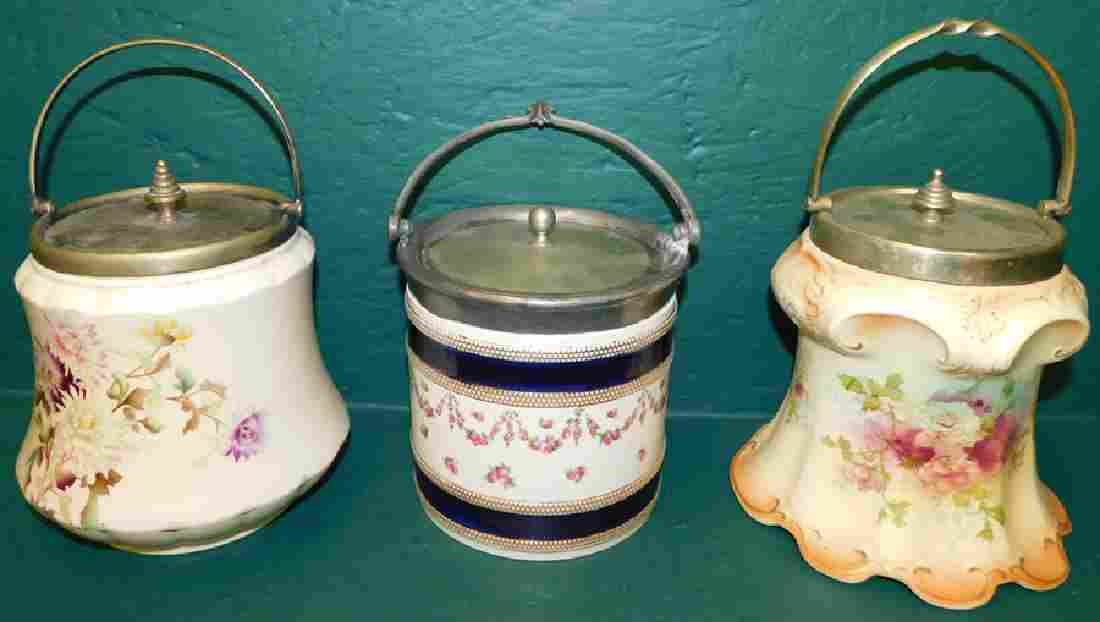 Three English Cracker Jars With SP Lids