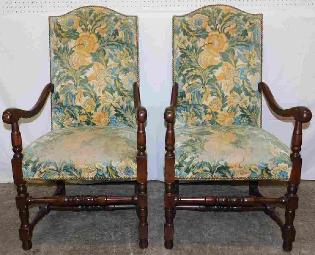 Pair Cherry Italian Arm chairs