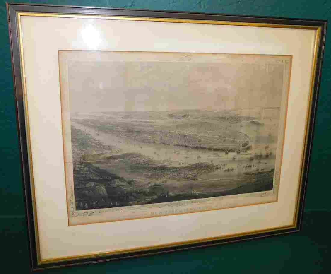Framed Engraving Of New York And Environs Dated 1868