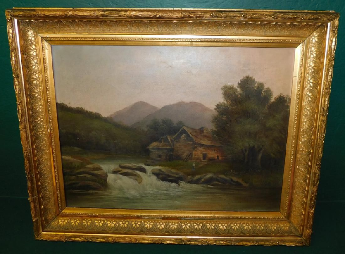 Oil On Canvas Of House On River Scene