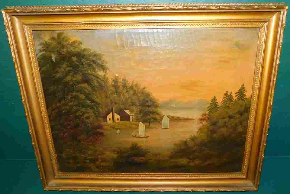19th C Oil On Canvas Of Lake Scene