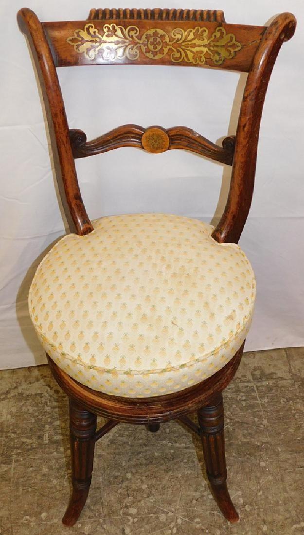 Regency Rosewood Piano Chair w/ Brass Inlay
