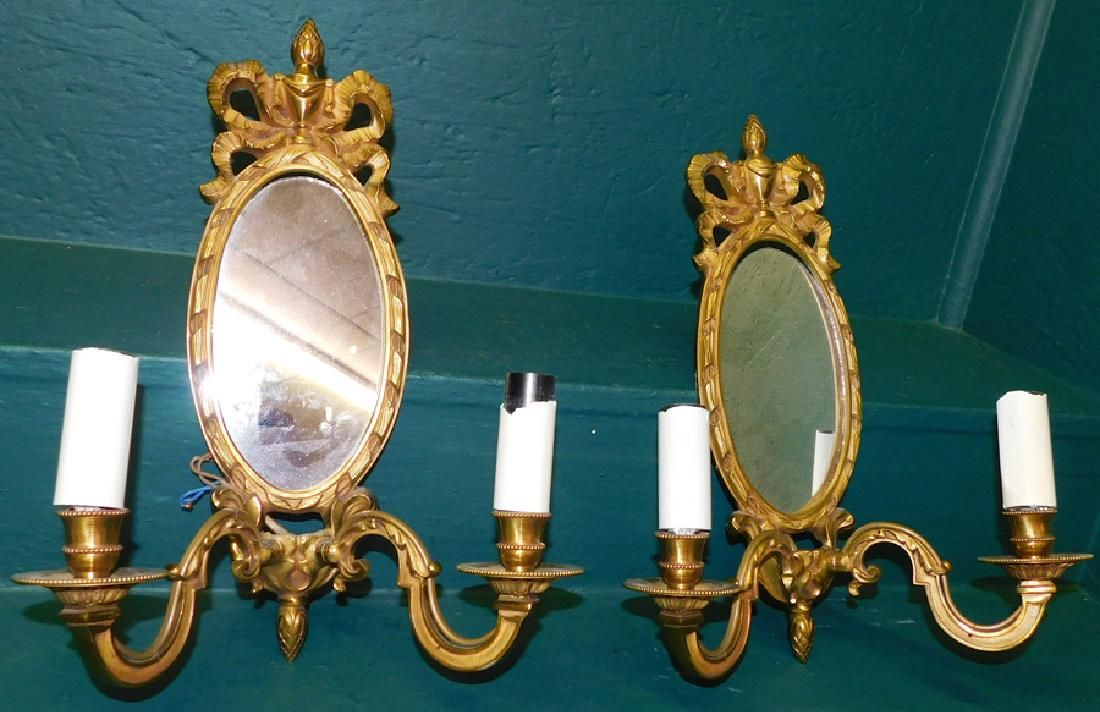 Pair Oval Gilt Bronze Mirror Back Wall Sconces
