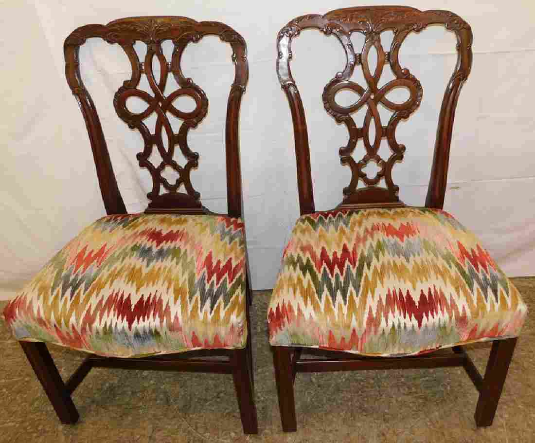 Pair Carved Mahogany Chippendale Chairs
