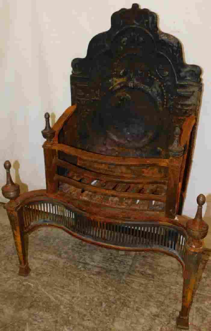 19th C Cast Iron Fireplace Back