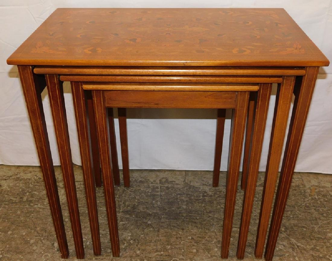 4 Mahogany Marquetry Inlaid Nest Of Tables