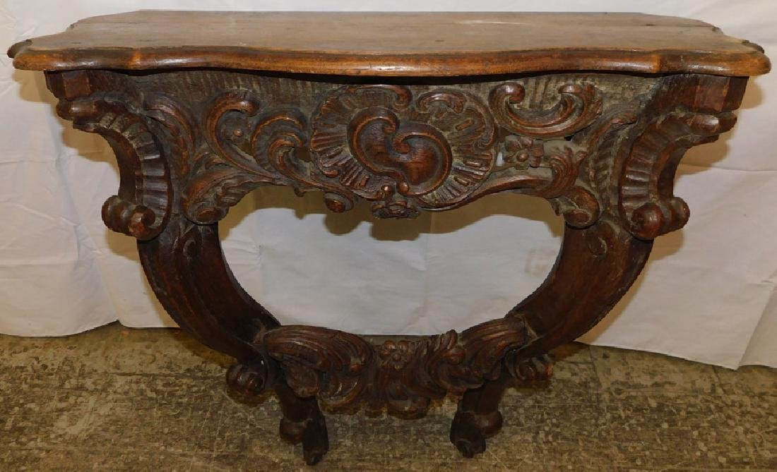 19th C Carved Oak Console