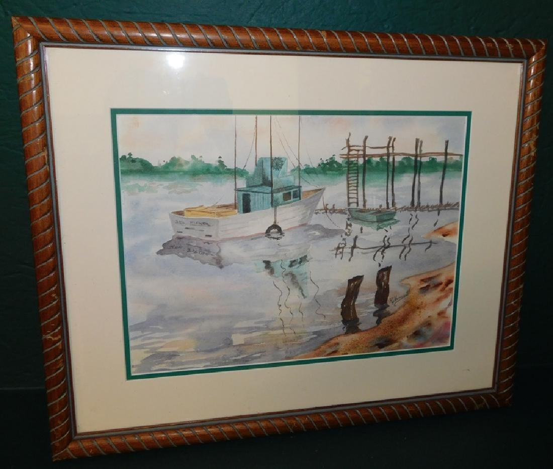 Watercolor Of Boat Dock By Ray Harrison