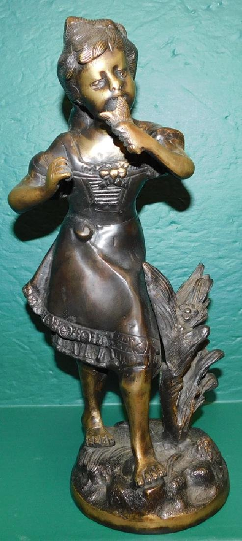 Bronze Figure Of Little Girl Signed Morneau