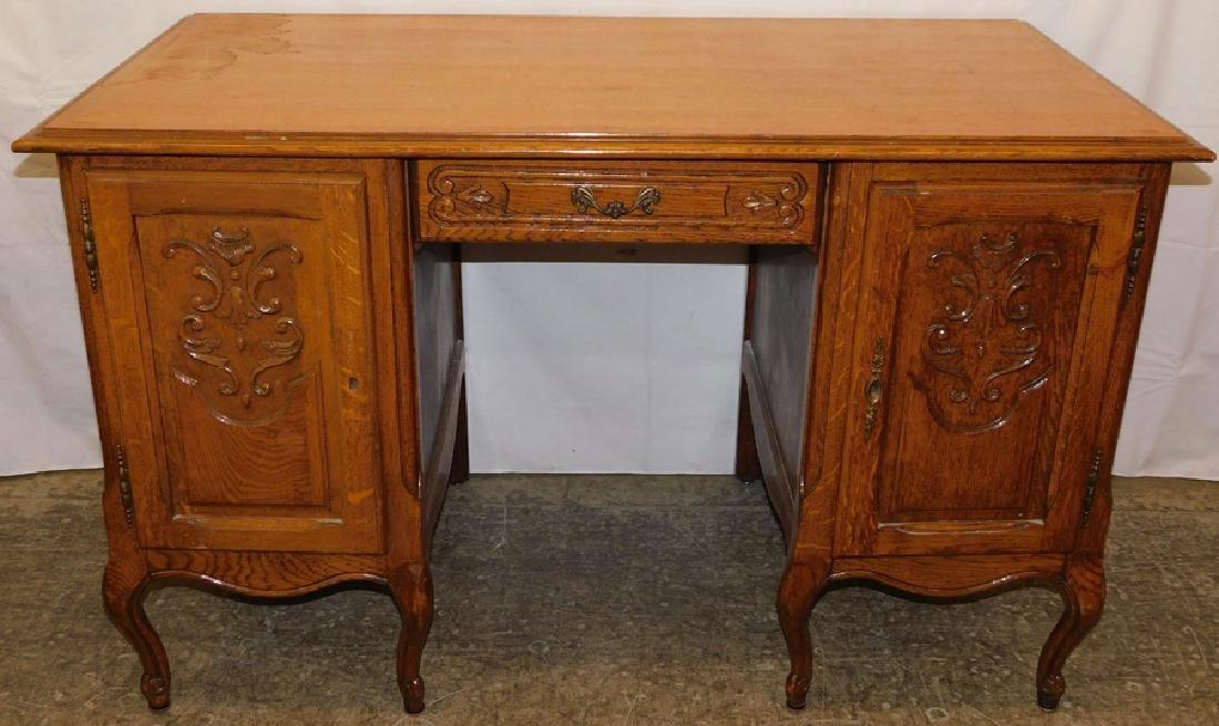 French Style Carved Oak Desk