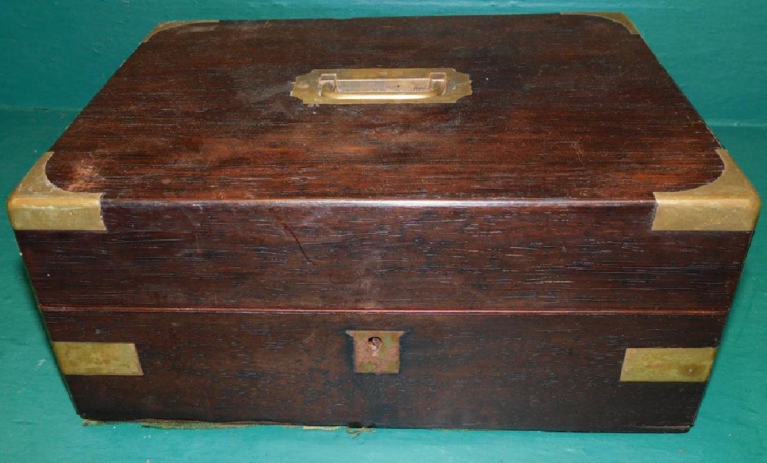 Brass Bound Rosewood Document Box