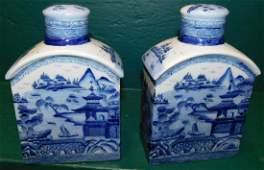 Pair Blue  White Oriental Porcelain Tea Caddies