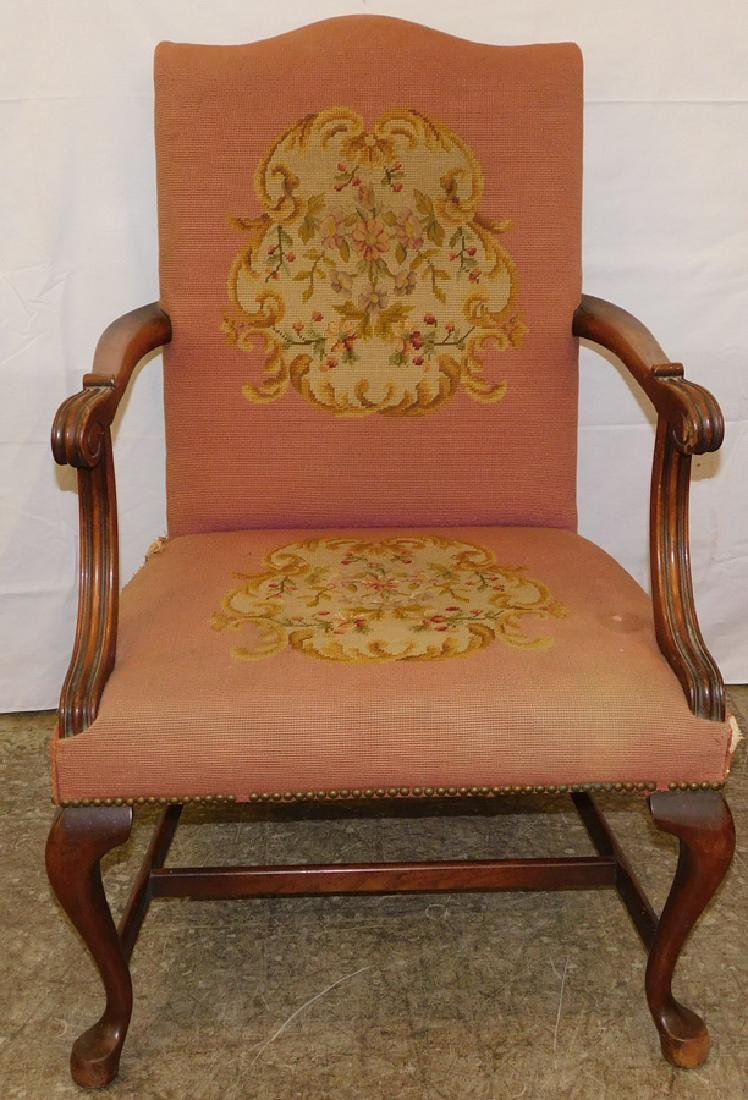 19th C QA Needlepoint Mahogany Arm chair