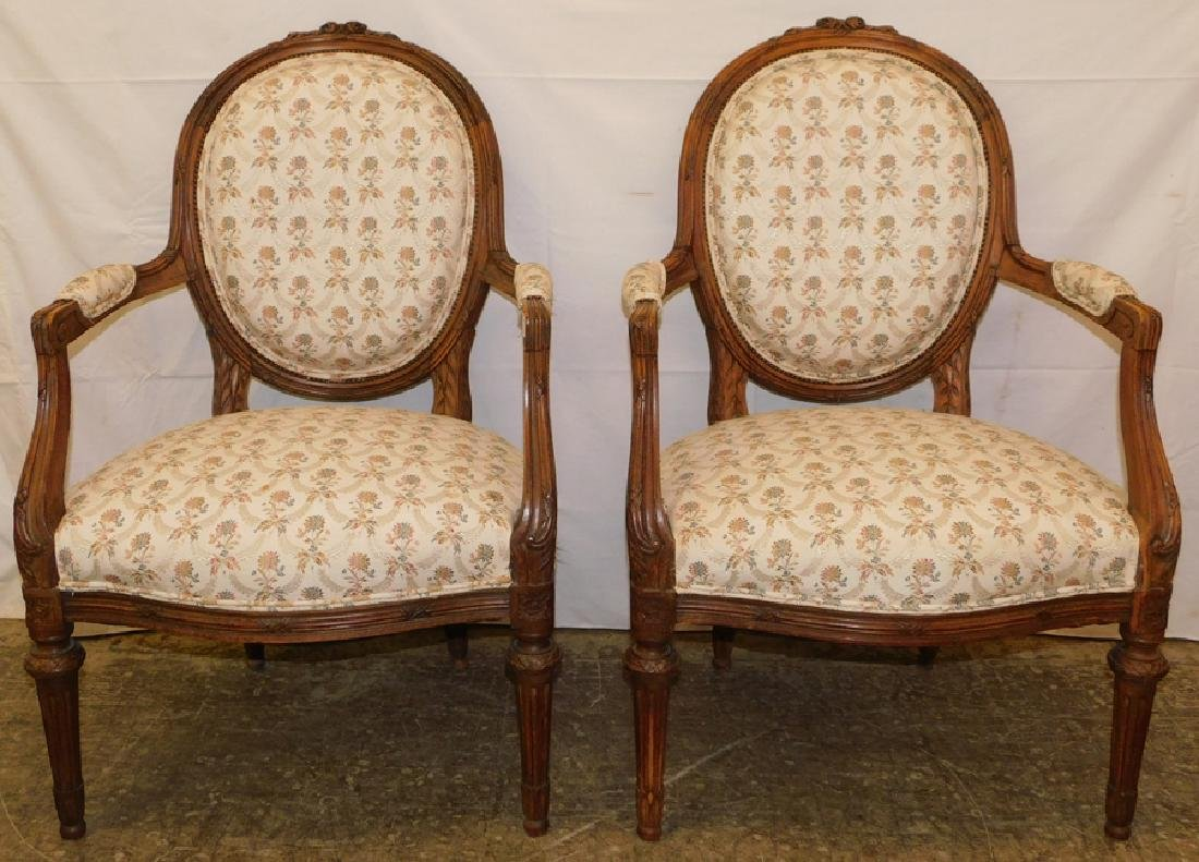 Pair French Carved Walnut Fauteuils
