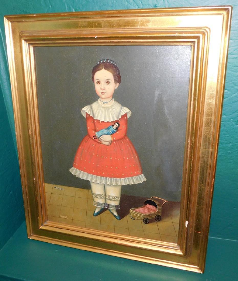 OOC Portrait of a Little Girl Signed Oscar