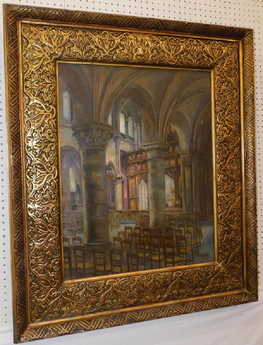 19th C Oil on Canvas Of Cathedral Interior
