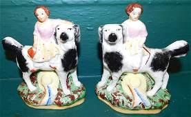 Pair 19th C Staffordshire Spaniels