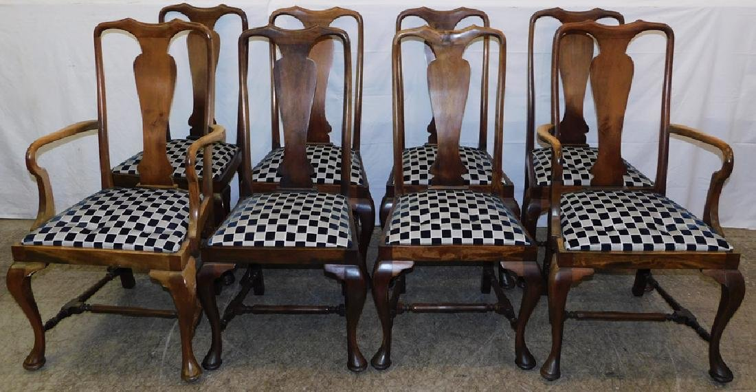 Set 8 Mahogany Queen Anne Dining Chairs