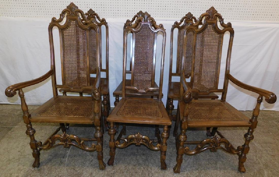 Set 6 Walnut Cane Seat & Back Dining Chairs