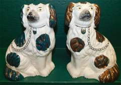 Pair 19th C Copper Luster Staffordshire Dogs