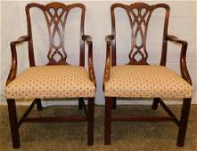 Pair Mahogany Chippendale Armchairs
