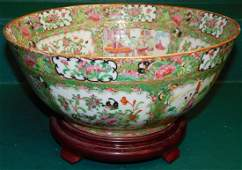 "19th C 13 1/2"" Rose Medallion Bowl On Stand"