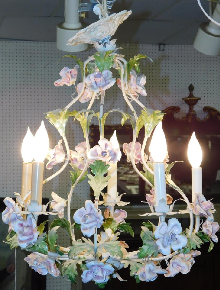 Painted Metal Floral 5 Lite Chandelier