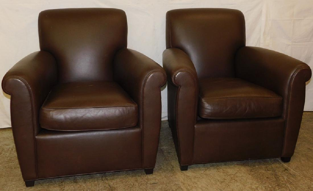 Pair Baker Coach Leather Club Chairs