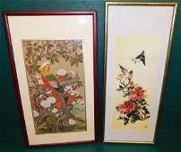 Oriental Framed Silk Embroidery & Oriental Print