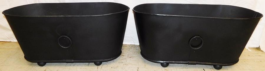 Pair Tole Painted Planters