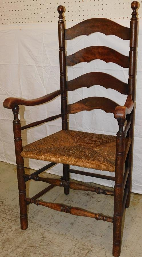 American Rush Seat Ladder Back Arm Chair