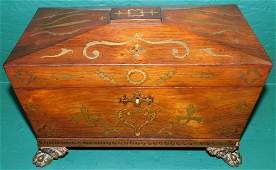 Rosewood W Brass Inlay Regency Tea Caddy