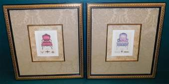Pair Framed Prints Of Chairs