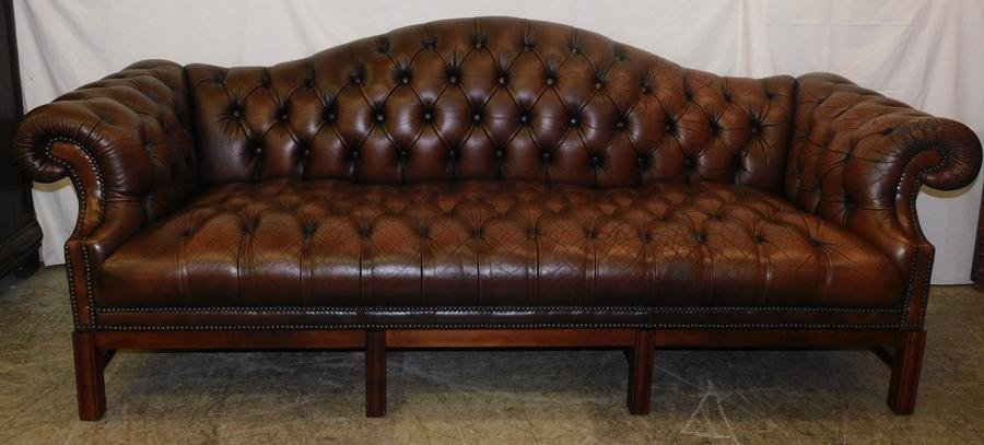 Leather Chesterfield Sofa W Cherry Legs