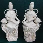 Pair Blanc De Chine Figurines