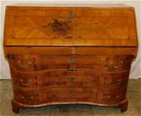 18th C Italian Serpentine Walnut Slant Front Desk
