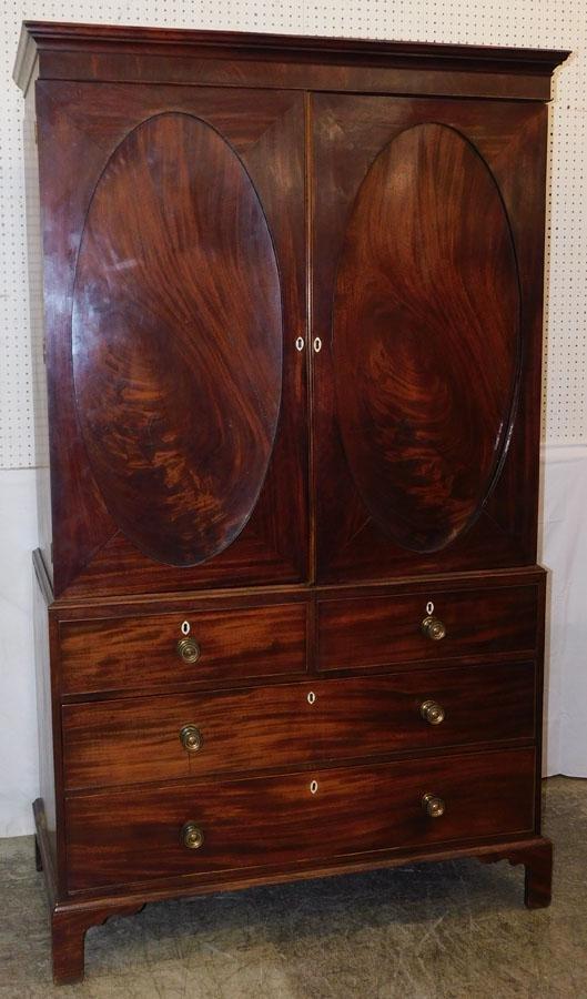 Two Part Georgian Crotch Mahogany Wardrobe
