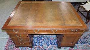 19th C Mah Tooled Leather Top 3Part Partners Desk