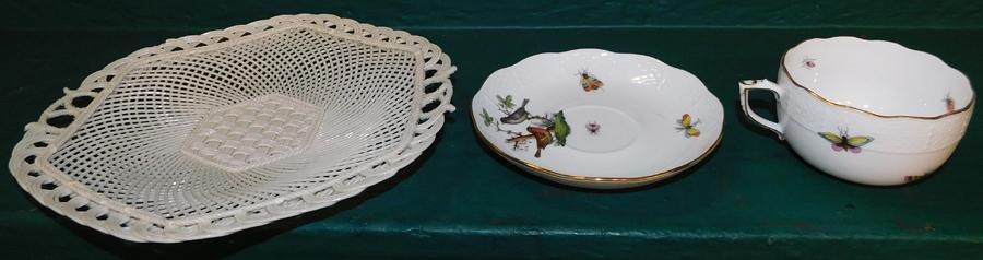 Herend Cup & Saucer & Belleek Basket Weave Plate