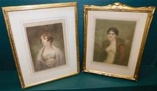 2 gilt framed prints or engravings of ladies