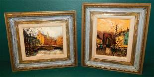 Pair of OOC French scenes, signed