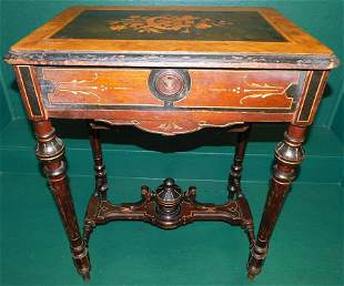American Victorian inlaid center table