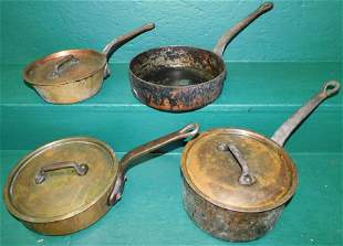 4 Antique copper pots