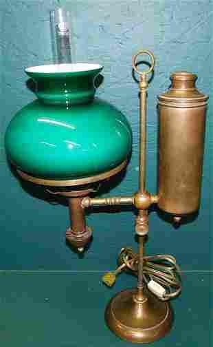 Brass student's lamp W/ Emerald Shade