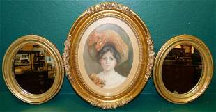 Pair of oval gilt mirrors and Framed pastel