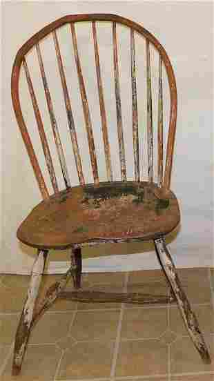 Antique 9 Spindle Bow Back Windsor Side Chair