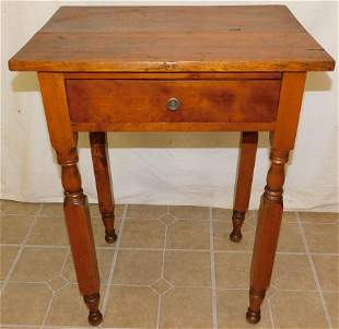 19th C Cherry One Drawer Work Table